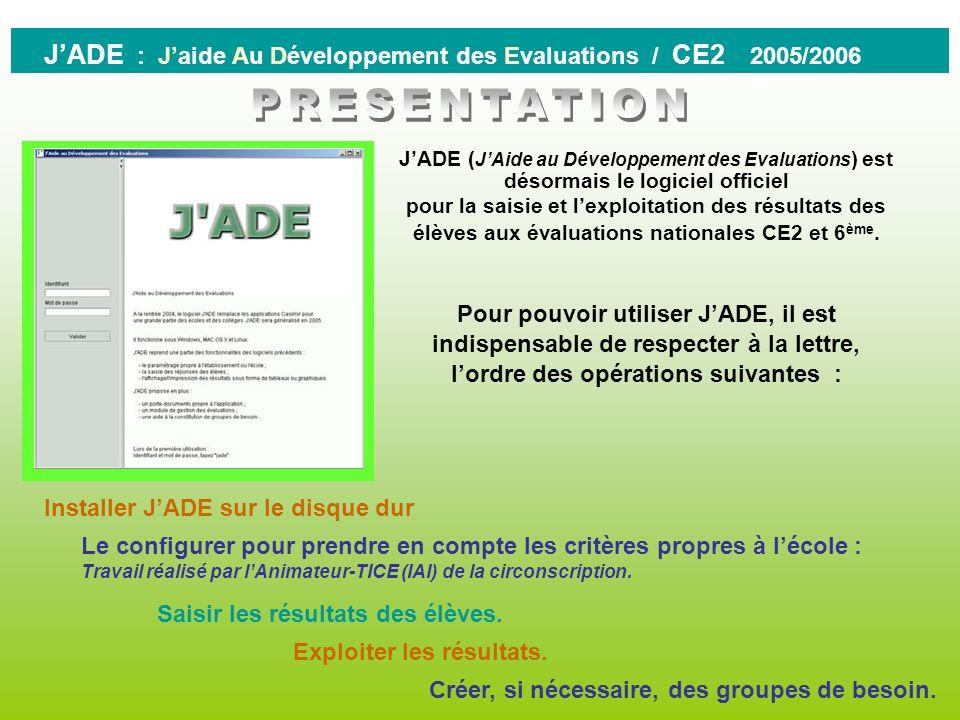 J'ADE : J'aide Au Développement des Evaluations / CE2 2005/2006
