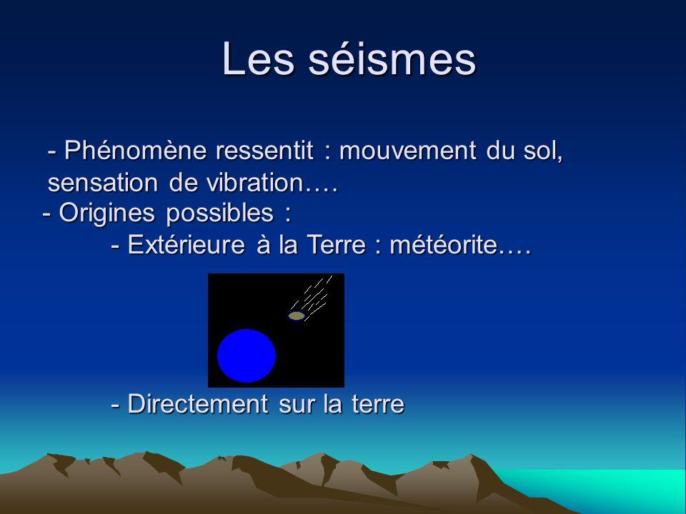 Les séismesPhénomène ressentit : mouvement du sol, sensation de vibration…. Origines possibles : - Extérieure à la Terre : météorite….