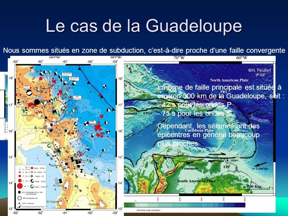 Le cas de la GuadeloupeNous sommes situés en zone de subduction, c'est-à-dire proche d'une faille convergente.