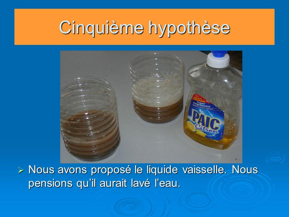 Cinquième hypothèse Nous avons proposé le liquide vaisselle. Nous pensions qu'il aurait lavé l'eau.