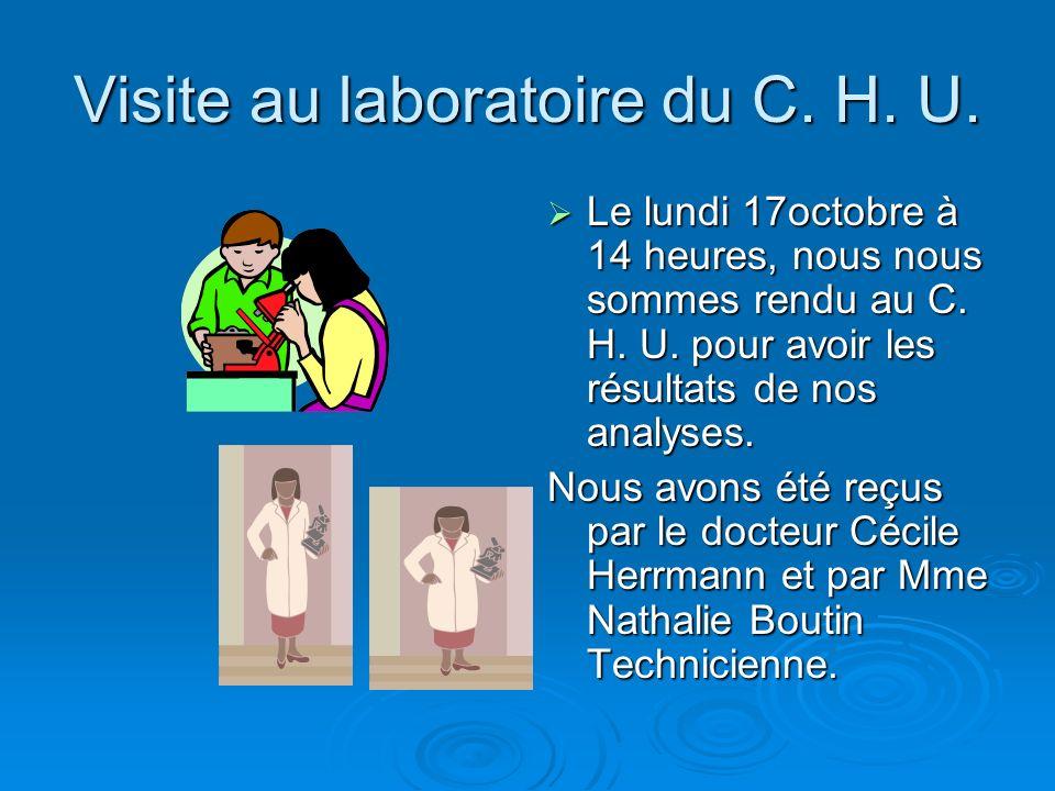 Visite au laboratoire du C. H. U.