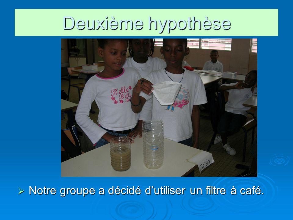Deuxième hypothèse Notre groupe a décidé d'utiliser un filtre à café.