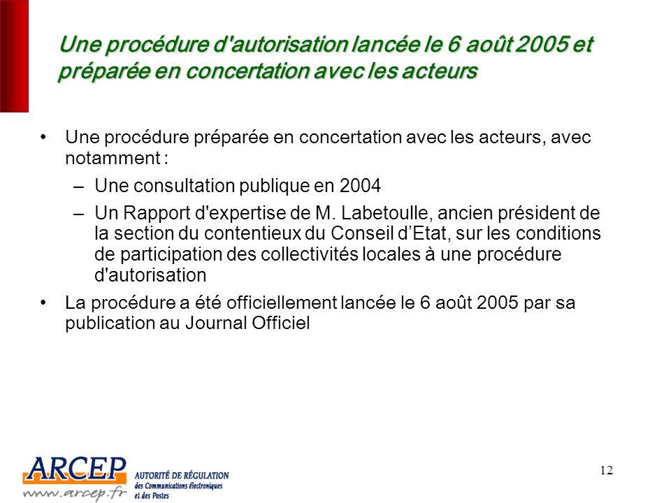 Une procédure d autorisation lancée le 6 août 2005 et préparée en concertation avec les acteurs