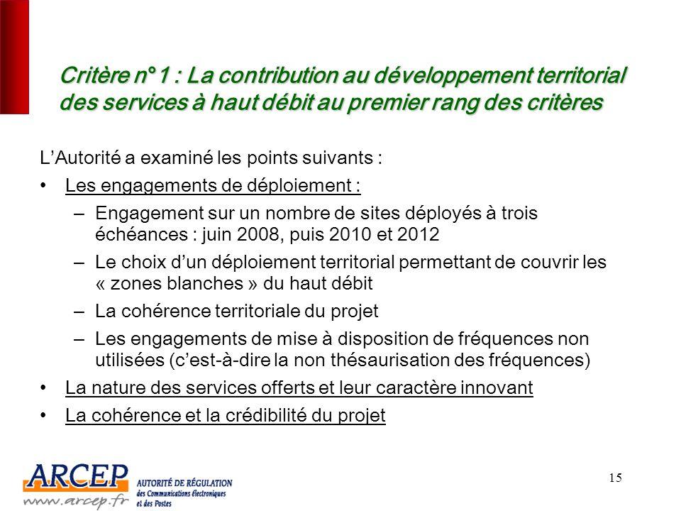 Critère n°1 : La contribution au développement territorial des services à haut débit au premier rang des critères