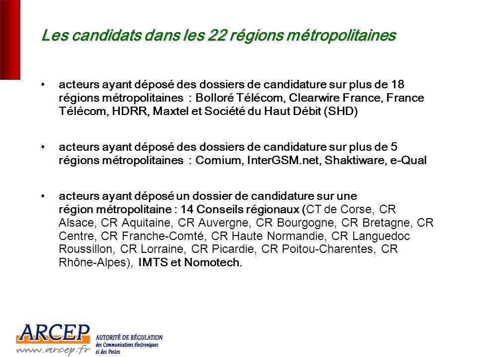 Les candidats dans les 22 régions métropolitaines
