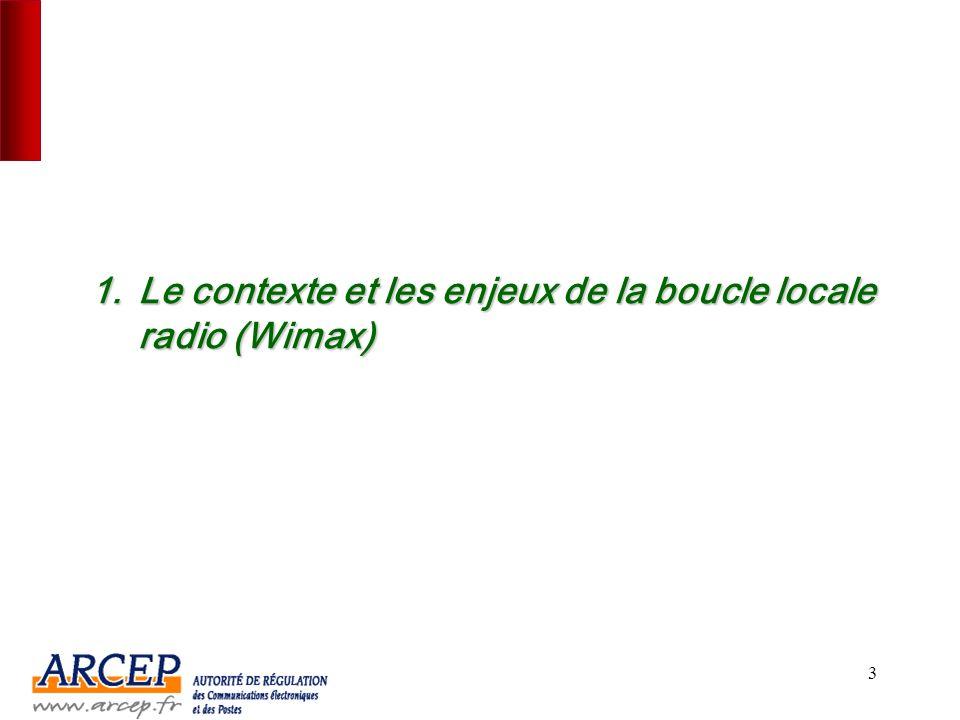 Le contexte et les enjeux de la boucle locale radio (Wimax)