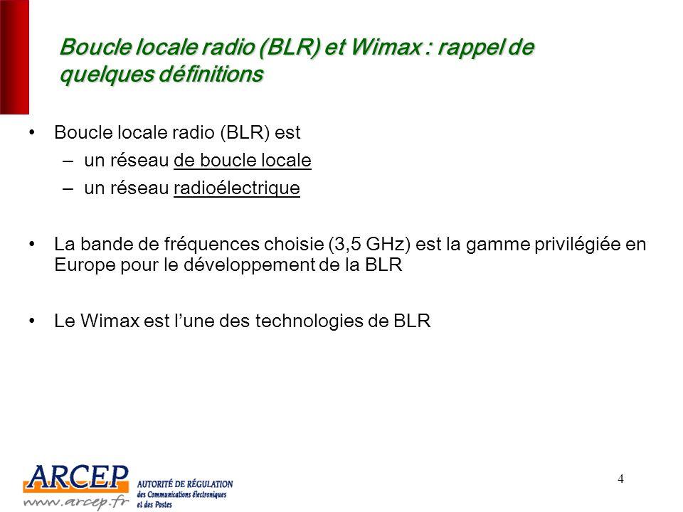 Boucle locale radio (BLR) et Wimax : rappel de quelques définitions