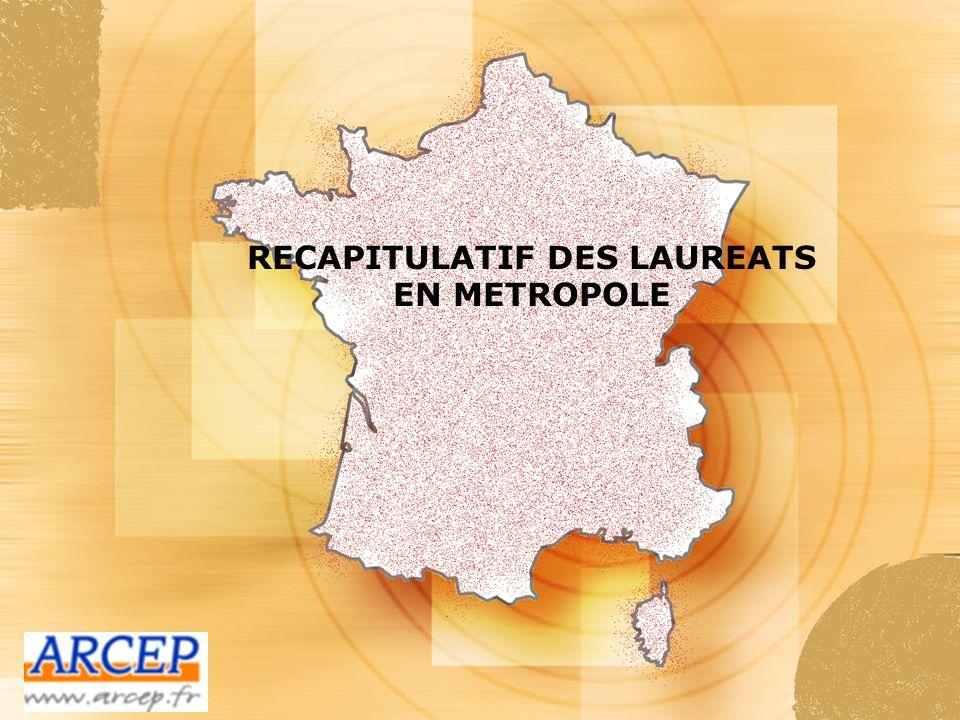 RECAPITULATIF DES LAUREATS EN METROPOLE