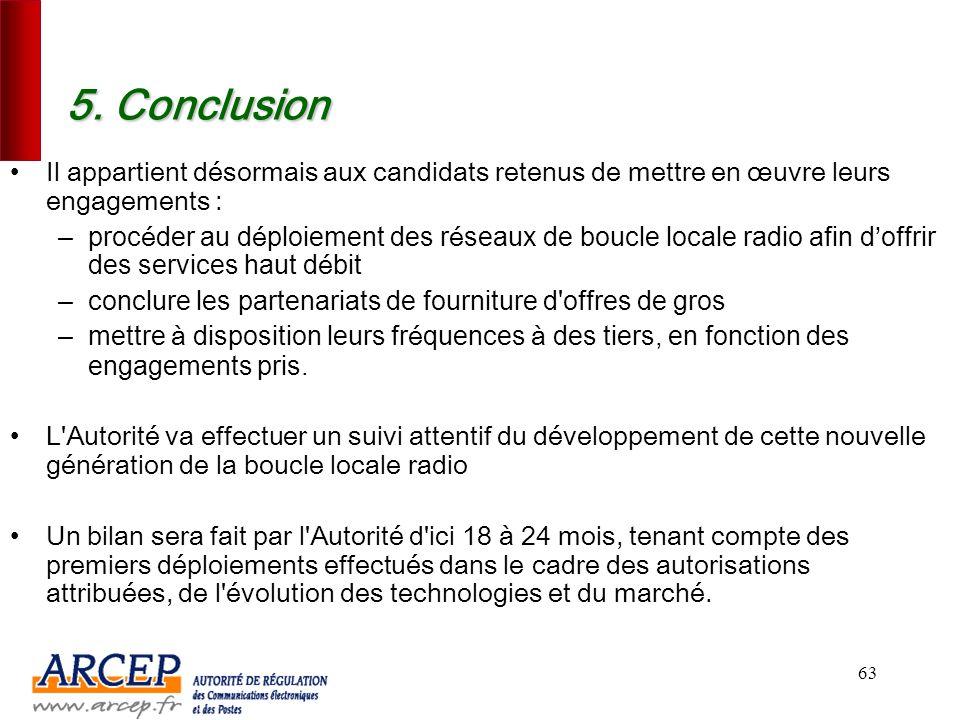 5. Conclusion Il appartient désormais aux candidats retenus de mettre en œuvre leurs engagements :