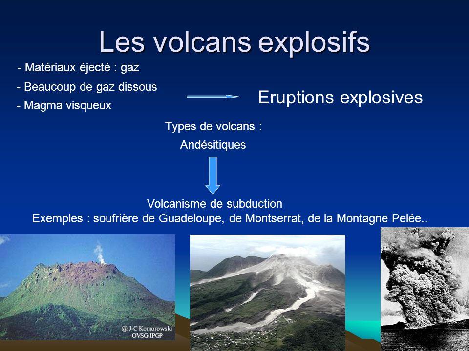 Les volcans explosifs Eruptions explosives - Matériaux éjecté : gaz