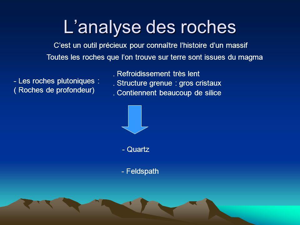 L'analyse des roches C'est un outil précieux pour connaître l'histoire d'un massif. Toutes les roches que l'on trouve sur terre sont issues du magma.