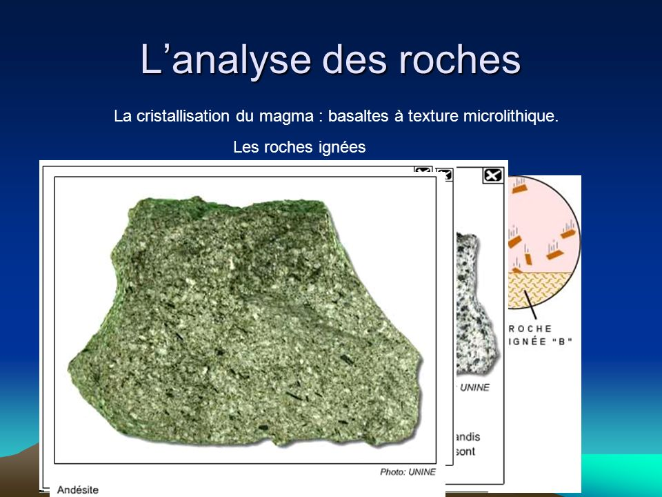 L'analyse des roches La cristallisation du magma : basaltes à texture microlithique.