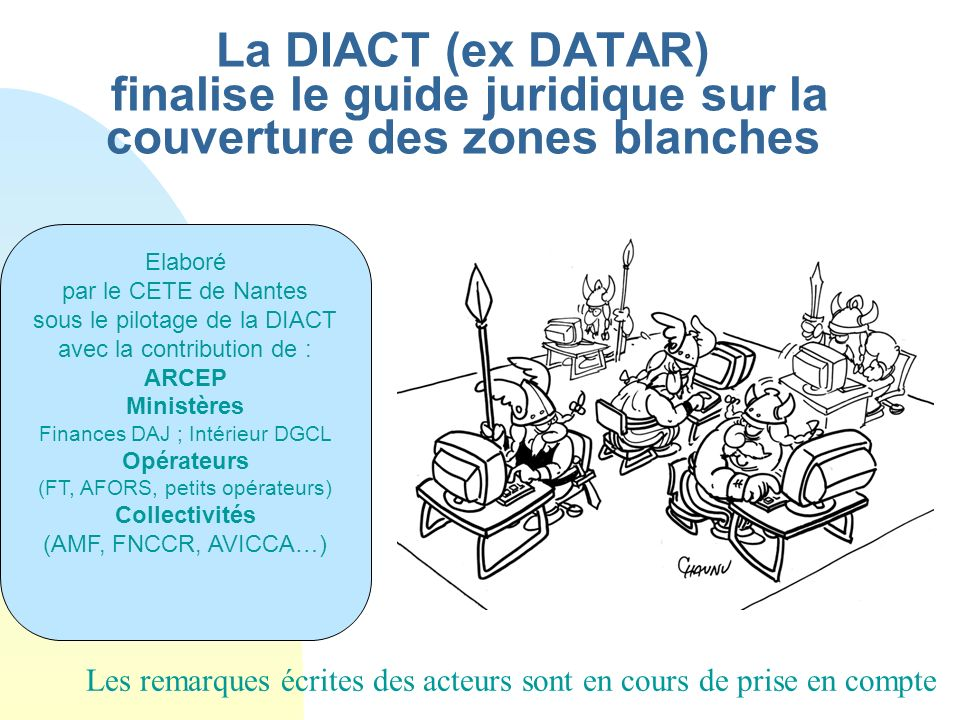 La DIACT (ex DATAR) finalise le guide juridique sur la couverture des zones blanches