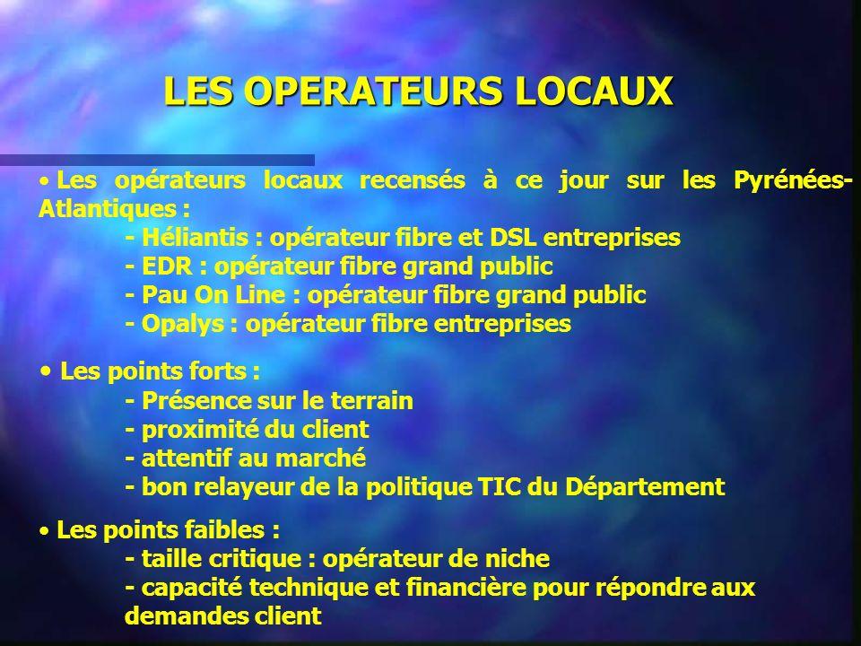 LES OPERATEURS LOCAUX Les opérateurs locaux recensés à ce jour sur les Pyrénées-Atlantiques : - Héliantis : opérateur fibre et DSL entreprises.