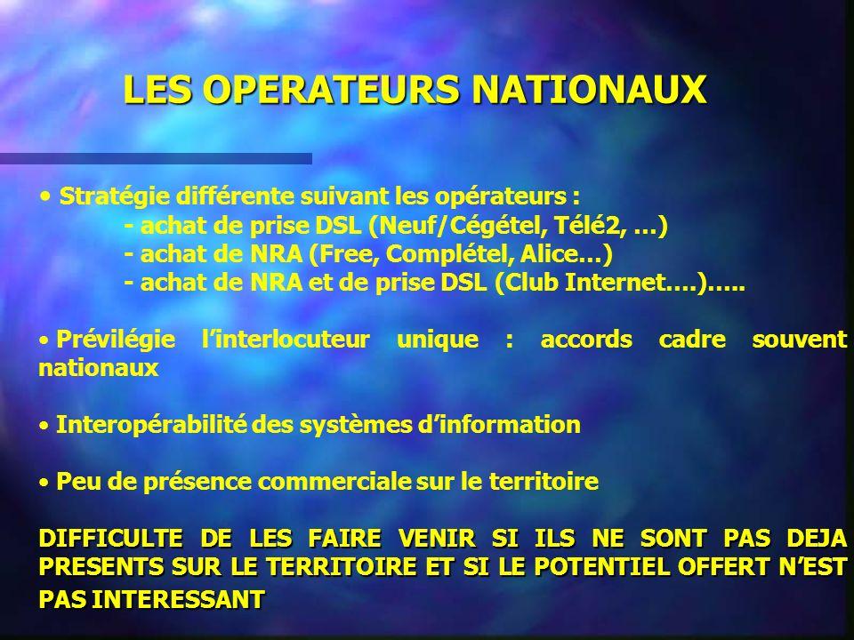 LES OPERATEURS NATIONAUX