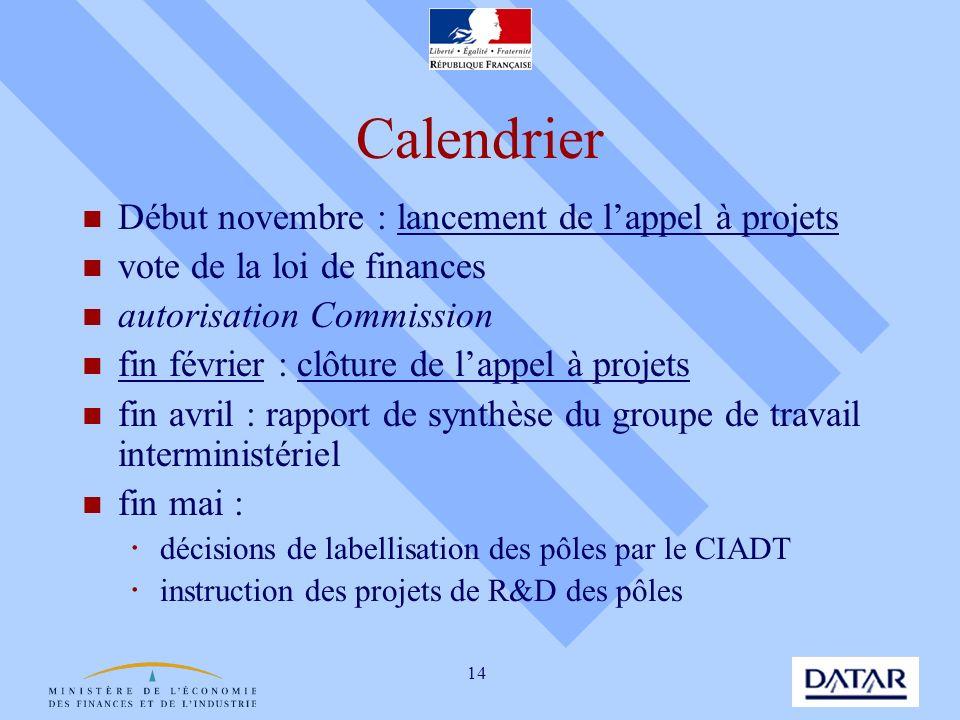 Calendrier Début novembre : lancement de l'appel à projets