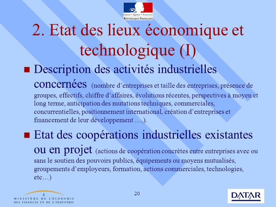 2. Etat des lieux économique et technologique (I)