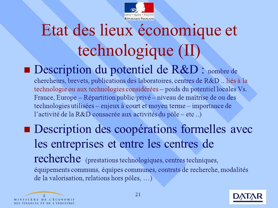 Etat des lieux économique et technologique (II)