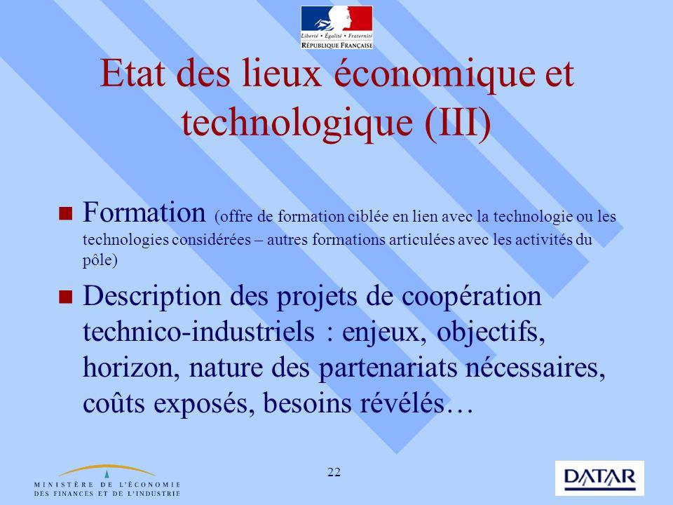 Etat des lieux économique et technologique (III)