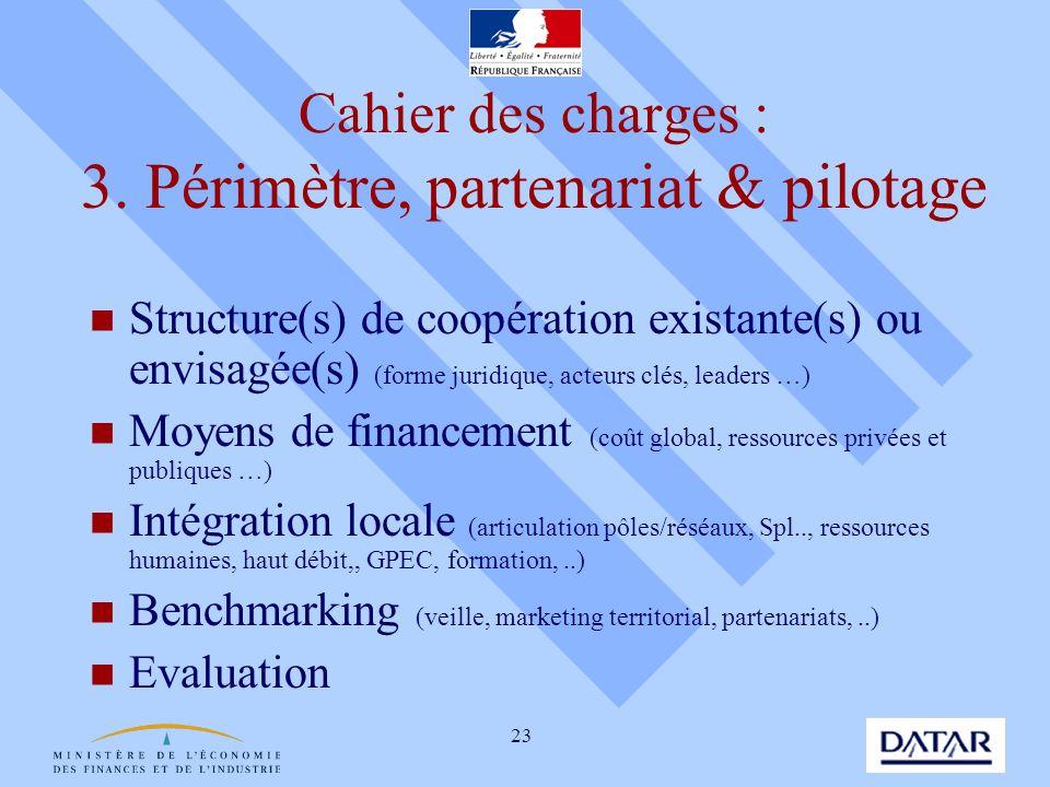 Cahier des charges : 3. Périmètre, partenariat & pilotage