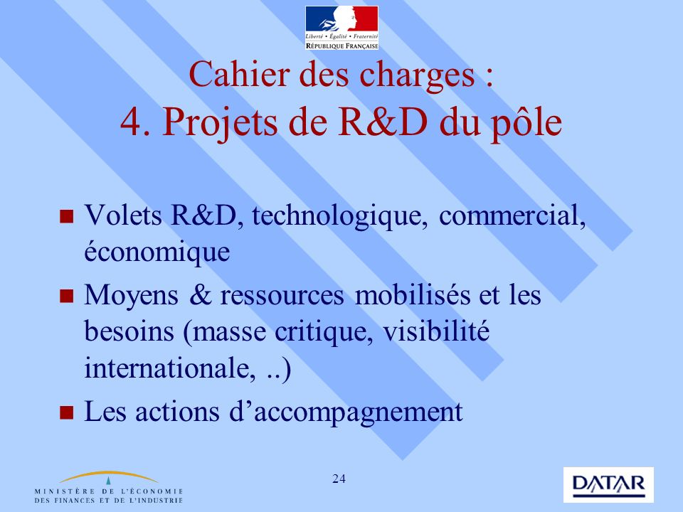 Cahier des charges : 4. Projets de R&D du pôle