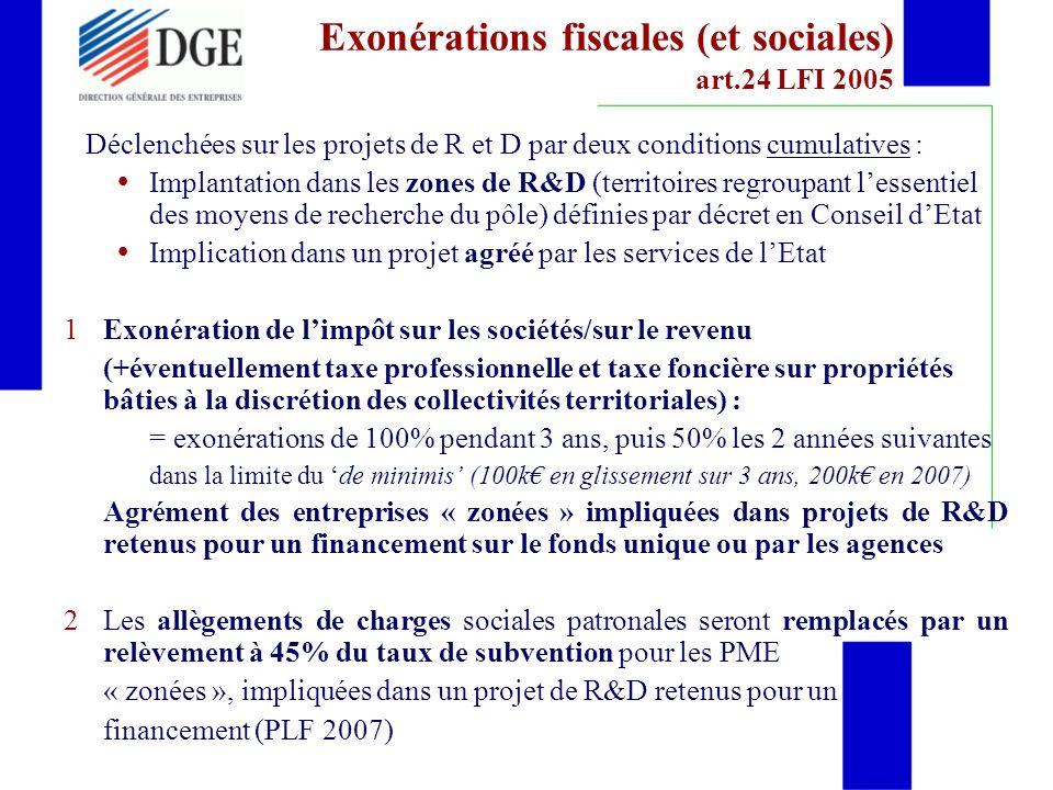 Exonérations fiscales (et sociales) art.24 LFI 2005
