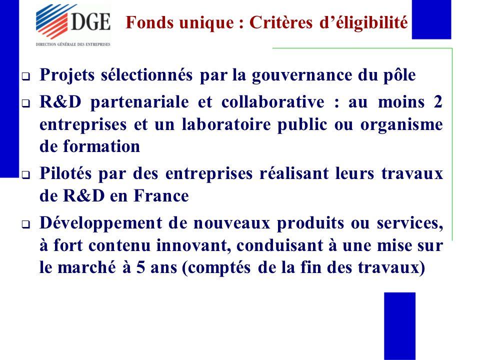 Fonds unique : Critères d'éligibilité
