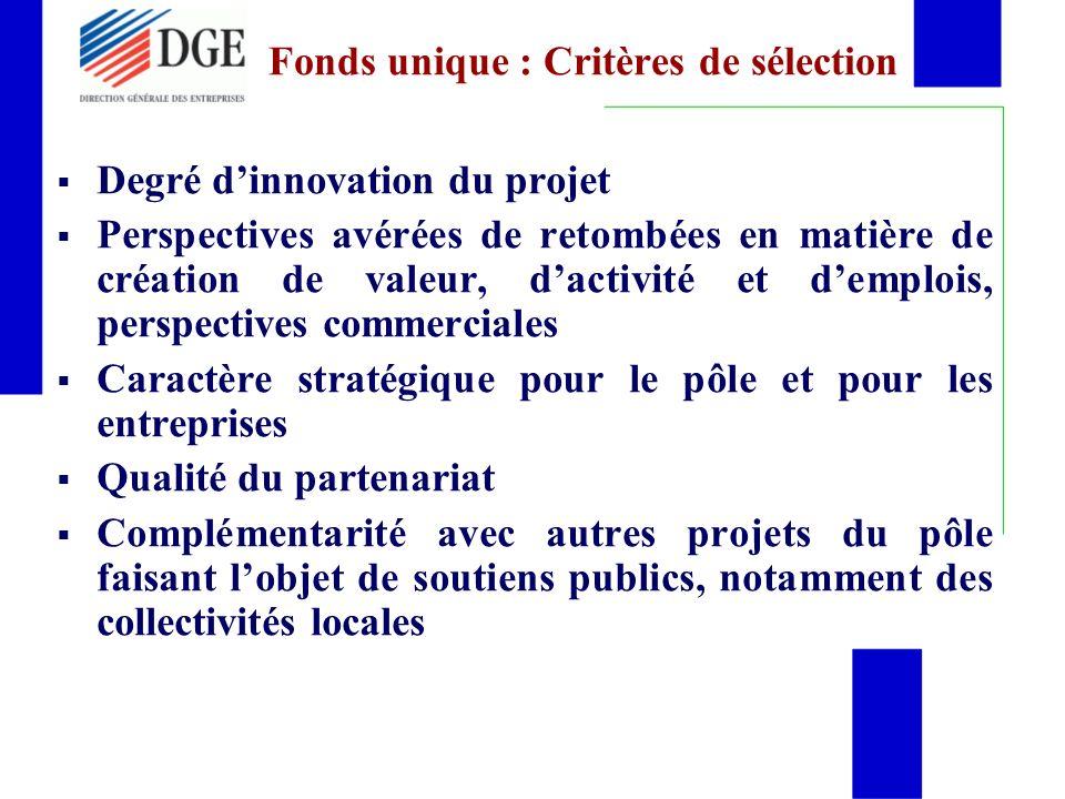 Fonds unique : Critères de sélection
