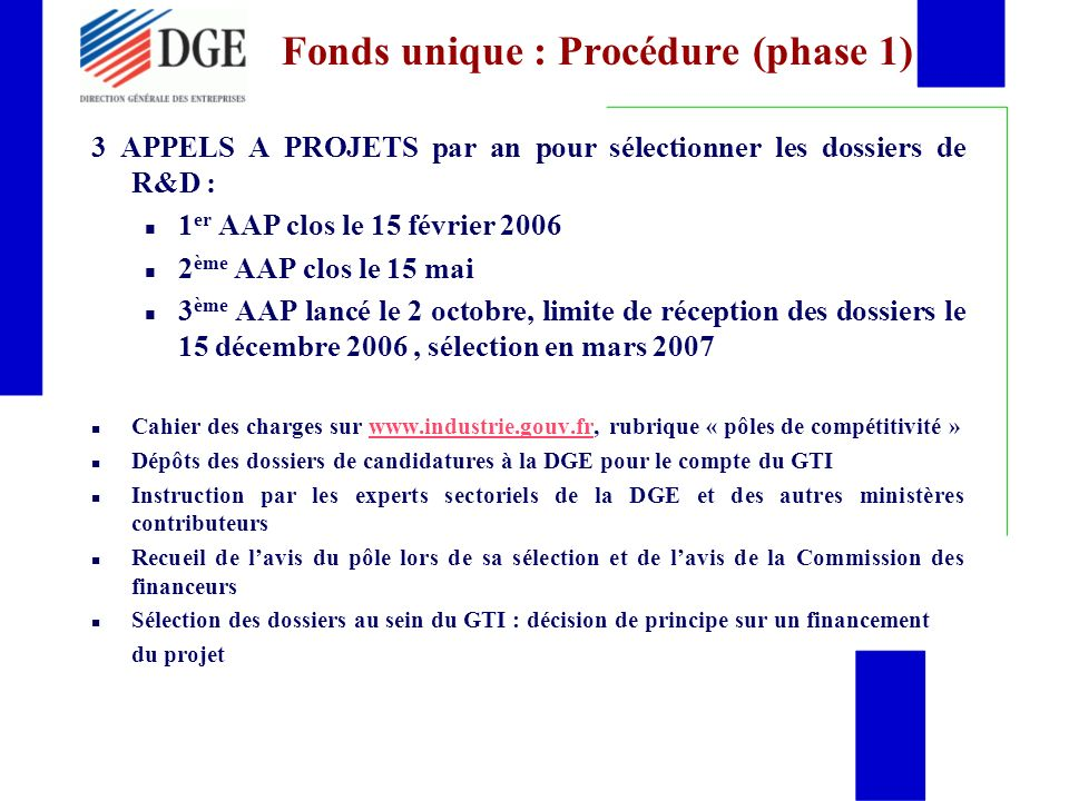 Fonds unique : Procédure (phase 1)