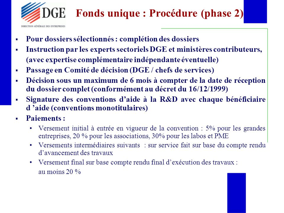 Fonds unique : Procédure (phase 2)