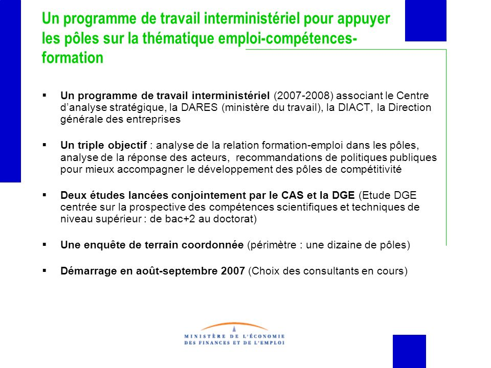Un programme de travail interministériel pour appuyer les pôles sur la thématique emploi-compétences-formation