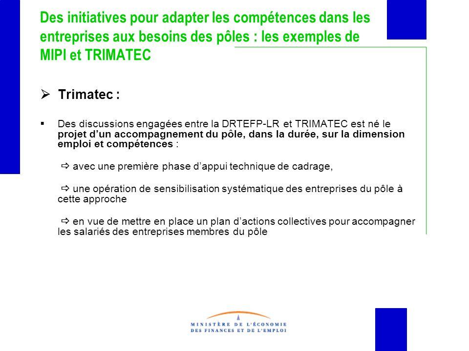 Des initiatives pour adapter les compétences dans les entreprises aux besoins des pôles : les exemples de MIPI et TRIMATEC