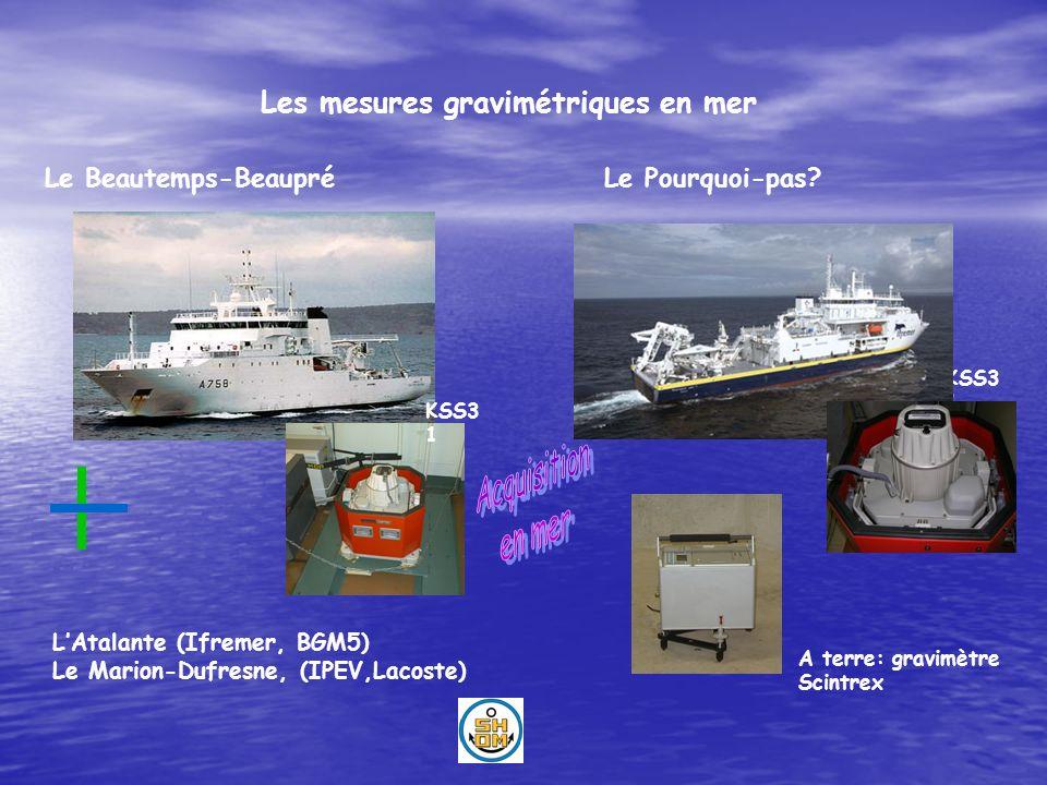 Les mesures gravimétriques en mer