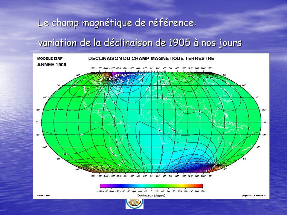 Le champ magnétique de référence: variation de la déclinaison de 1905 à nos jours