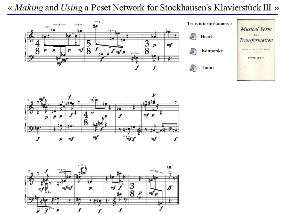 « Making and Using a Pcset Network for Stockhausen s Klavierstück III »