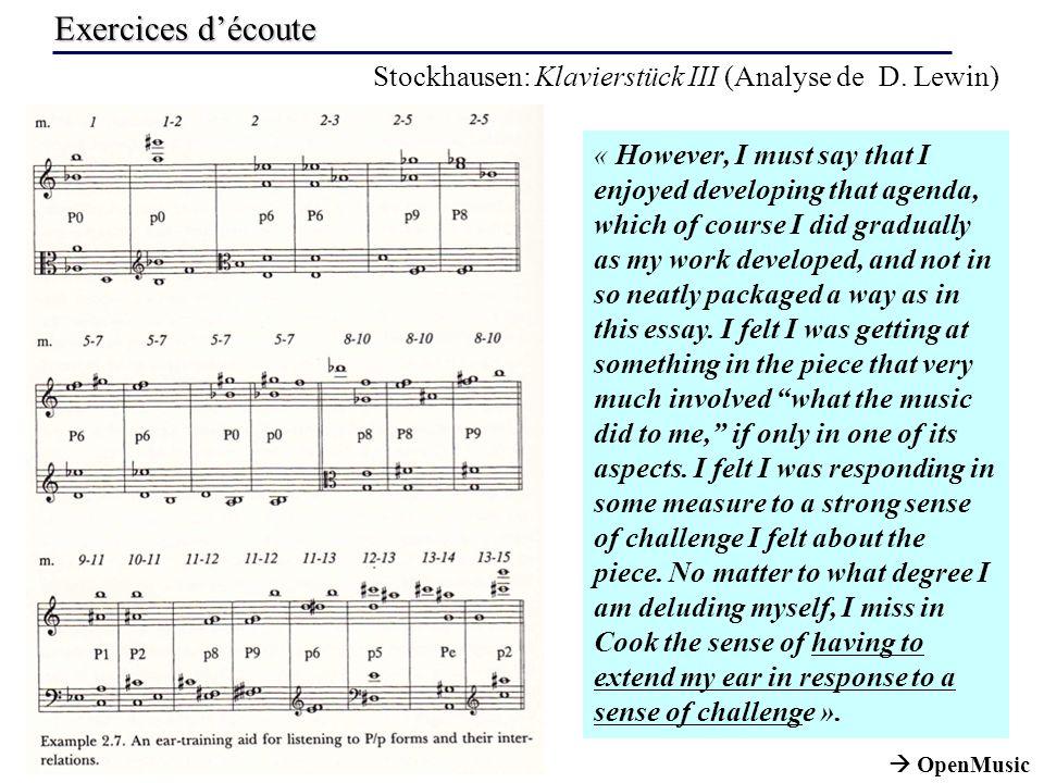 Exercices d'écoute Stockhausen: Klavierstück III (Analyse de D. Lewin)