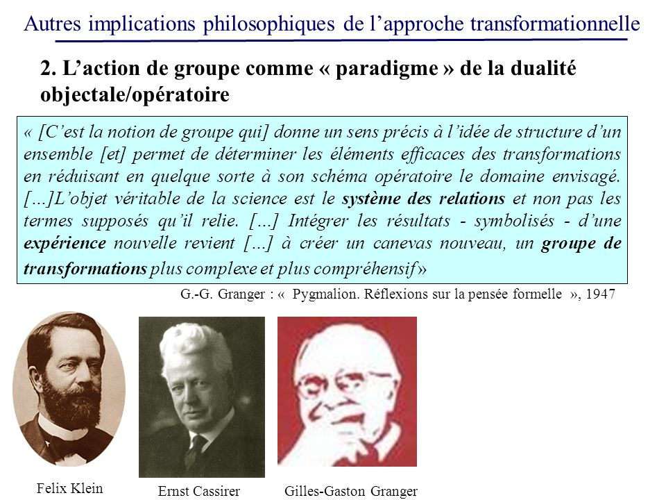 Autres implications philosophiques de l'approche transformationnelle