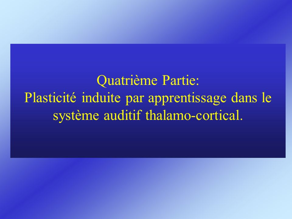 Quatrième Partie: Plasticité induite par apprentissage dans le système auditif thalamo-cortical.