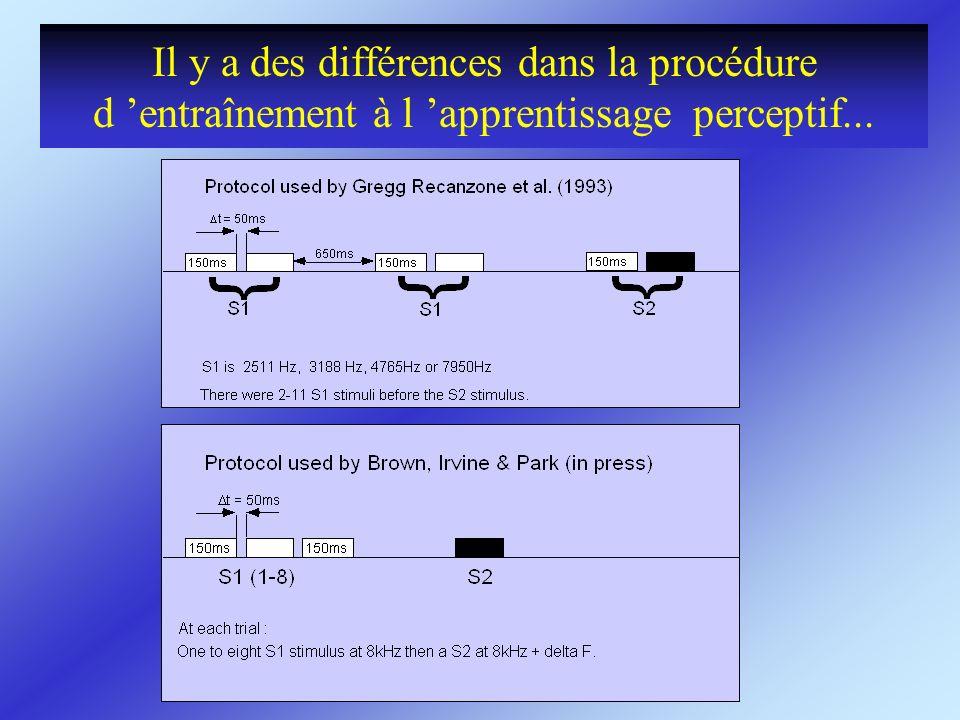 Il y a des différences dans la procédure d 'entraînement à l 'apprentissage perceptif...