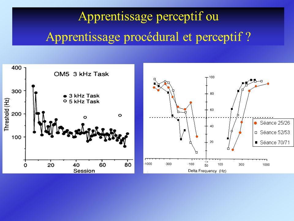 Apprentissage perceptif ou Apprentissage procédural et perceptif