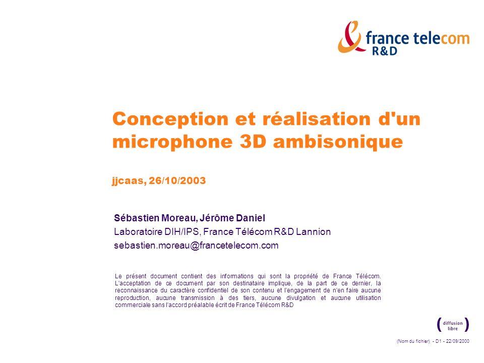 Conception et réalisation d un microphone 3D ambisonique jjcaas, 26/10/2003