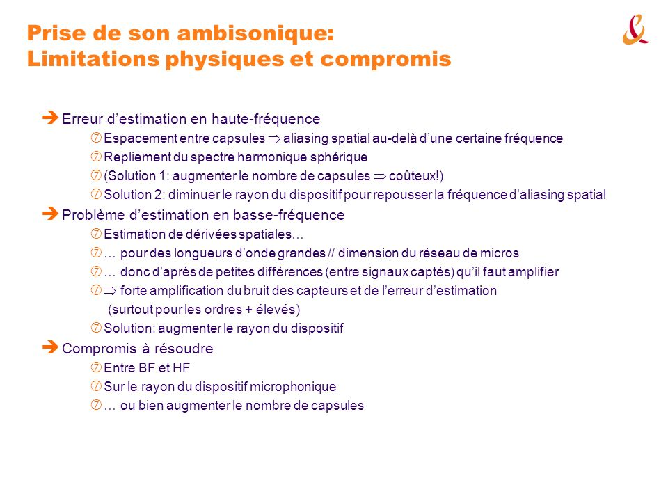 Prise de son ambisonique: Limitations physiques et compromis