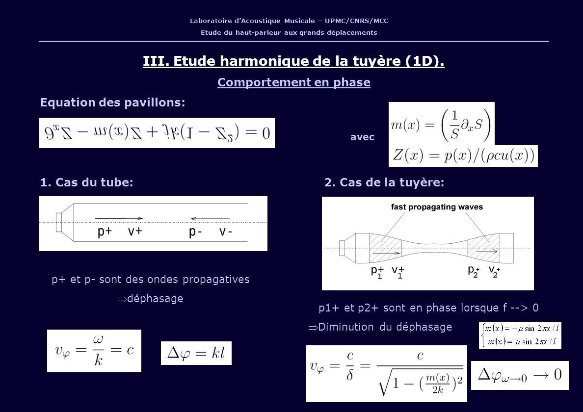 III. Etude harmonique de la tuyère (1D).