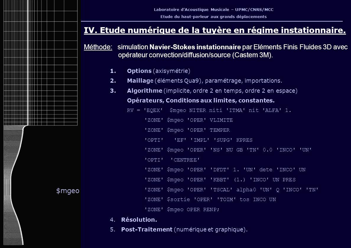IV. Etude numérique de la tuyère en régime instationnaire.