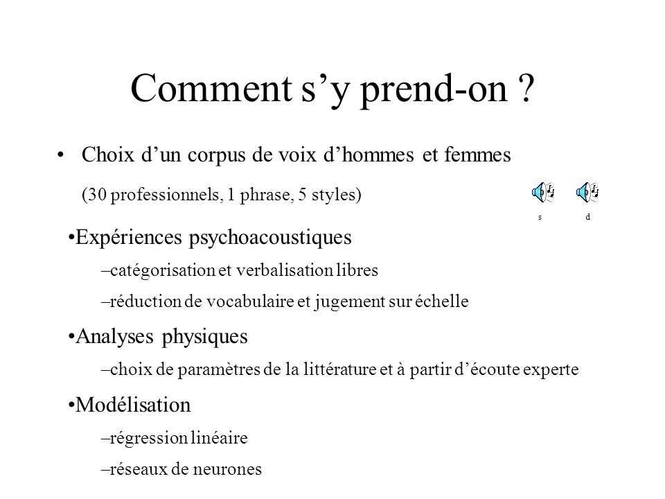 Comment s'y prend-on (30 professionnels, 1 phrase, 5 styles)
