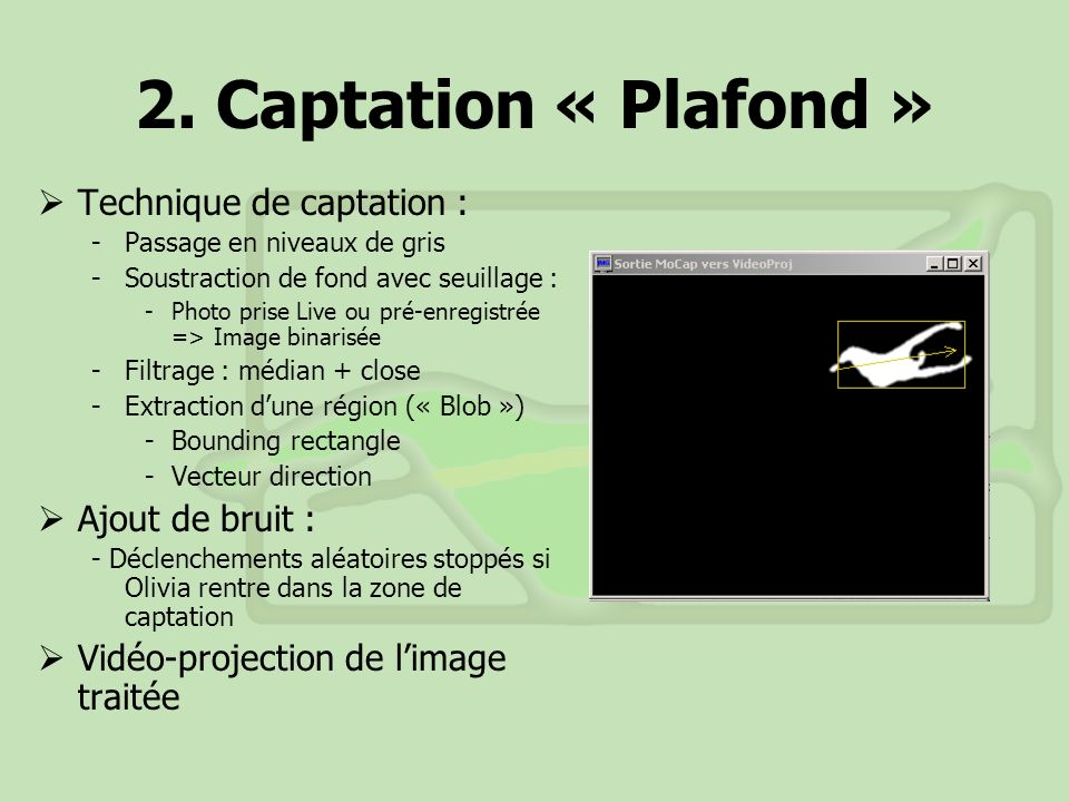 2. Captation « Plafond » Technique de captation : Ajout de bruit :