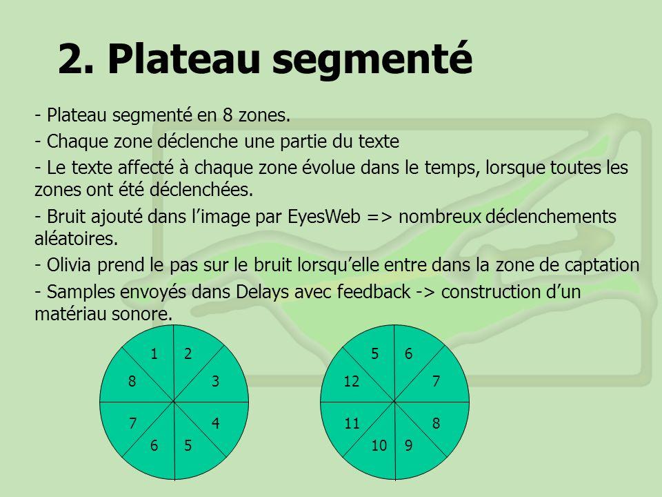 2. Plateau segmenté - Plateau segmenté en 8 zones.