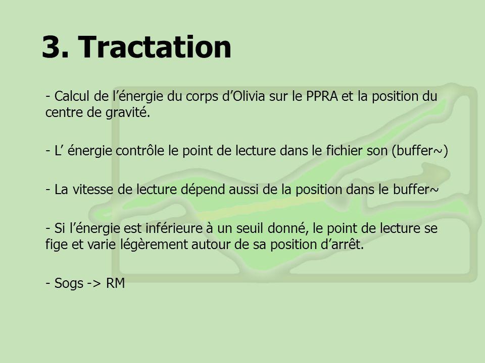 3. Tractation Calcul de l'énergie du corps d'Olivia sur le PPRA et la position du centre de gravité.