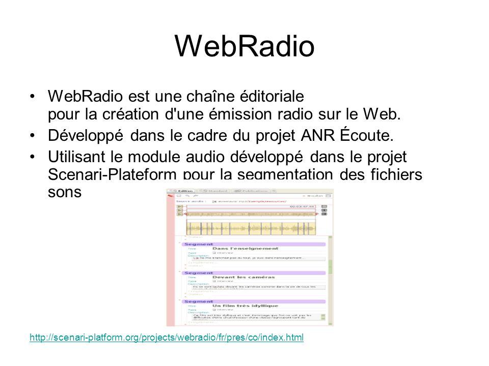 WebRadio WebRadio est une chaîne éditoriale pour la création d une émission radio sur le Web. Développé dans le cadre du projet ANR Écoute.