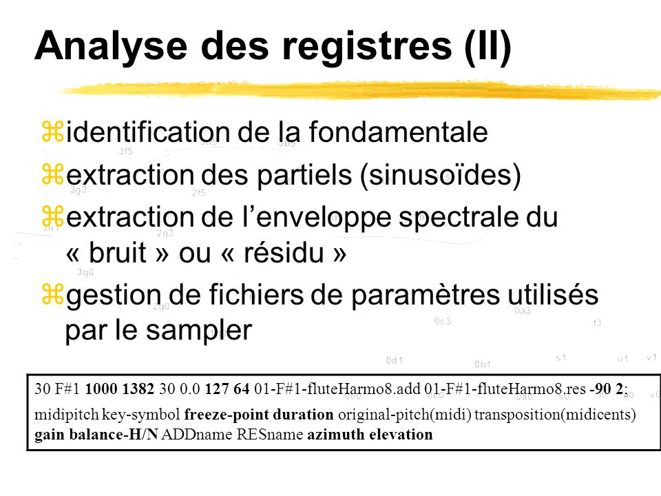 Analyse des registres (II)